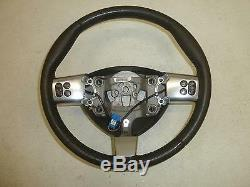 04-08 GRAND PRIX Black Perforated Leather White Stitching Steering Wheel Chrome