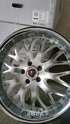 1 set of Merceli wheels M11 White Machine face chrome lip 20x8.5 5x114.3 35 off