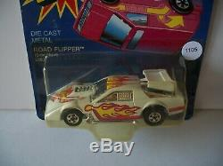 1105-HOT WHEELS CAMARO RACER FLIP OUT WHITE & CHROME With FLAMES