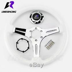 13.8 6 Bolt Polished Ivory WHITE CHROME STEERING WHEEL with Horn For JEEP