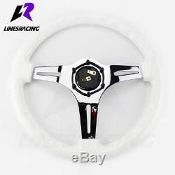 13.8 6 Bolt Polished Ivory WHITE CHROME STEERING WHEEL with Horn For VW