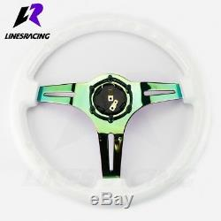 13.8 6 Bolt White Ivory Wooden Neo CHROME STEERING WHEEL with Horn For Ford