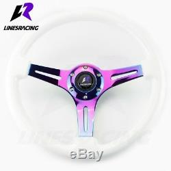 13.8 6 Bolt White Ivory Wooden Neo CHROME STEERING WHEEL with Horn For JEEP