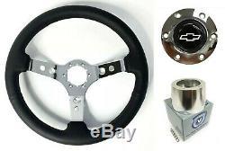14 Chrome 3 Spoke Steering Wheel, White Bowtie Horn, 1974-94 GM Pickup Truck
