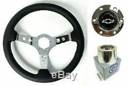 14 Chrome 3 Spoke Steering Wheel, White Bowtie Logo Horn, 1969-1994 Chevy Cars