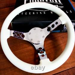 14 Inch White Steering Wheel with Chrome Spokes and Horn for 3/4 Keyway Boats