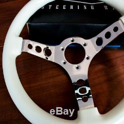 14 Inch White Steering Wheel with Chrome Spokes for Golf Carts and Boats
