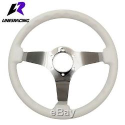 14 White Wood Grain Steering Wheel 6 Bolt 3 Dish Chrome Spoke+HORN For Chevy