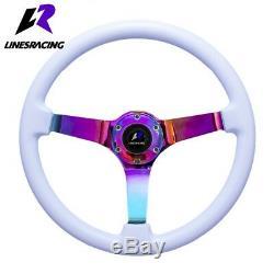 14 White Wood Grain Steering Wheel 6 Bolt 3 Dish Neon Chrome+HORN For Toyota