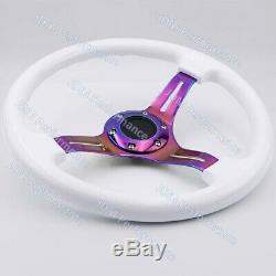 14inch White ABS Deep Dish Drift Racing Steering Wheel with Neo Chrome Spokes