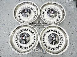 15 Buick White Chrome 52 Spoke Classic Wire Wheels 5 lug Skylark Riviera New 4