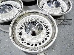 15 Hot Rod White Chrome 52 Spoke Wire Wheels 5 lug Kelsey Hayes Dayton Style