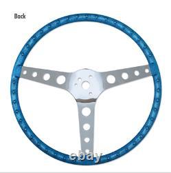 15 Mooneyes 3-Spoke Steering Wheel White Vinyl Finger Grip GS290FGWH w Boss Kit