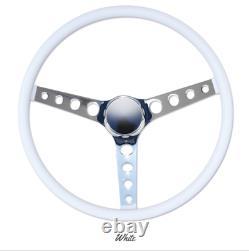 15 Mooneyes 3-Spoke Steering Wheel White Vinyl Finger Grip GS290FGWH w Horn Kit