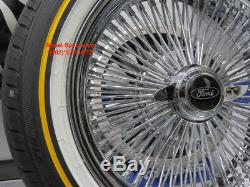 16 Chrome 100 Spoke Ford Wire Wheel Vogue White Wall Tire Package New Fairlane