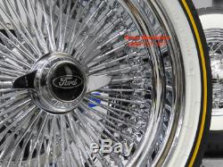 16 Chrome 100 Spoke Ford Wire Wheel Vogue White Wall Tire Package New Fairmont