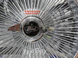 16 Chrome 100 Spoke Ford Wire Wheels Vogue White Wall Tires Package LTD Galaxie