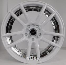 17x7.5 5x100 Custom Wheels Rims fits Chevy Set of 4 Gloss White with Chrome