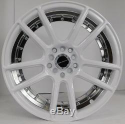 17x7.5 5x100 Custom Wheels Rims fits Dodge Set of 4 Gloss White with Chrome