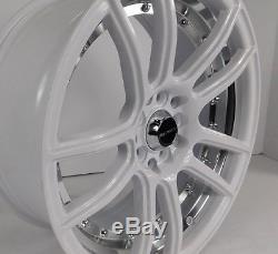 17x7.5 5x114.3 Custom Wheels Rims fits Honda Set of 4 Gloss White with Chrome