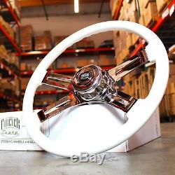 18 Chrome White/Yellow 4 Spoke Big Rig Steering Wheel Factory Second