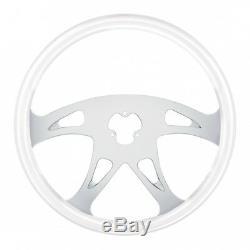 18 Glacier White Steering Wheel 4 Spoke Chrome Plating Designer Style
