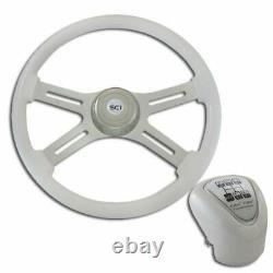 18 Inch Chrome 4 Spoke White Steering Wheel & Shift Knob Kit 4S09-1500315K18