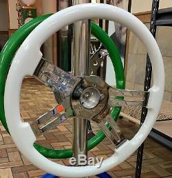 18 White Steering Wheel 4 Chrome Spokes & Horn Freightliner Kenworth Peterbilt