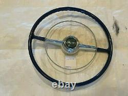 1953 1954 Chevy Belair Steering Wheel Blue & White Chrome Ring Coupe Convertible