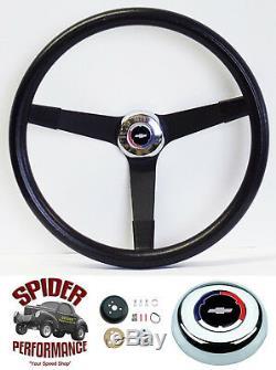 1955-56 BEL AIR 150 210 steering wheel Red White Blue Bow 14 3/4 Vintage Black