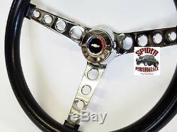 1957 Bel Air 210 150 steering wheel RED WHITE BLUE BOWTIE 14 1/2 CLASSIC CHROME
