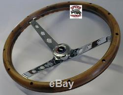1960-1969 Chevy pickup steering wheel RED WHITE BLUE BOWTIE 15 CLASSIC WALNUT