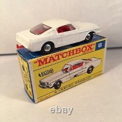 1960s. Matchbox Lesney. 8, Ford Mustang. White, Chrome wheels. Mint in F Type Box