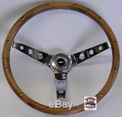 1964-66 Chevy 2 1966 Chevelle steering wheel RED WHITE BLUE BOWTIE 15 WALNUT