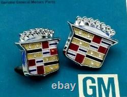 2 Gm Nos Cadillac Roof Crest Emblem Set Fleetwood Brougham Eldorado Deville Trim