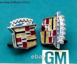 2 New Gm Cadillac Roof Crest Nos Emblem Fleetwood Brougham Eldorado Deville Trim