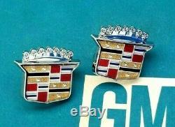 2 Nos Cadillac Roof Crest Emblem Set Fleetwood Brougham Eldorado Deville Gm Trim