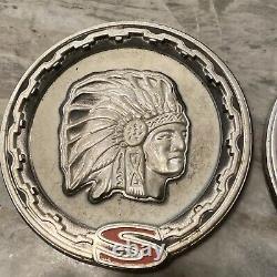 2 VINTAGE JEEP CHEROKEE WAGONEER CHIEF INDIAN HEAD S EMBLEMS 1970-1981 Makeoffer