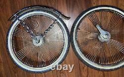 20 Lowrider Bicycle Chrome Wheels & Duro White Walls 72 Spoke Front & Rear