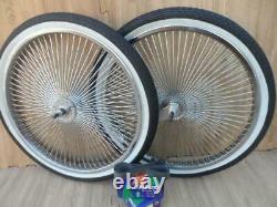 20 Lowrider Bicycle WHEELSET ASSEMBLED Chrome Wheels & White Walls 140 Spoke Fr