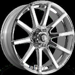 22x9.5 White Diamond WD-0036 Custom Chrome Wheels Rims 5x139.7 +15mm 108.1 CB