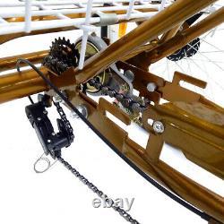 24 3 Wheel Adult Bicycle Tricycle Trike Rear +Shoppingbasket Rickshaw Backrest