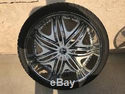 26x10 Diablo Morpheus Wheels Chrome with White Inserts. 4 Rims And 4 Tires
