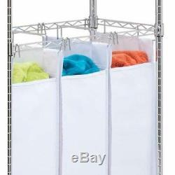 3 Bags Rolling Laundry Triple Sorter Adjustable Clothes Hanging Racks Chrome NEW