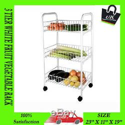 3 Tier Fruit Vegetable Rack Storage Stand White Kitchen Trolley With Wheels Cart