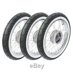 3 Wheels Pas for simson Duo Duo4 1 Racing Tires Chrome White Wall Complete Pneus