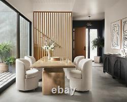 33 H Elegant Chic Cream White Dining Chair Drum Shape Chrome Wheels Modern