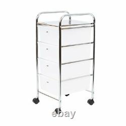 4 Drawers Storage Trolley On Wheels Metal Plastic Mobile Kitchen Hairdressing