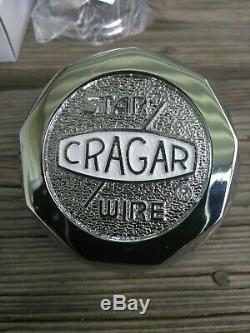 (4) NEW Cragar Star Wire Wheels 30 Spoke WHITE Center Caps Tru True Tru= Crager