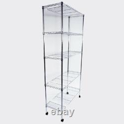 5-Layer Chrome Plated Iron Shelf with Nylon Wheels Chrome Srorage Rack White